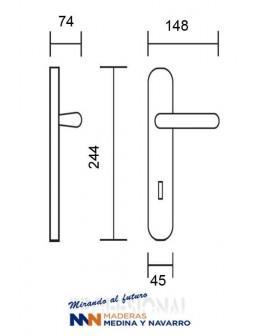Juego de manivelas Nulacvi modelo 7002 acero inox. con placa