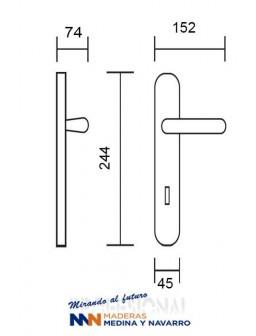 Juego de manivelas Nulacvi modelo 7001 acero inox. con placa