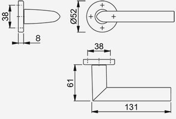 Dimensiones Manivela Estocolmo E1140Z/42K Hoppe