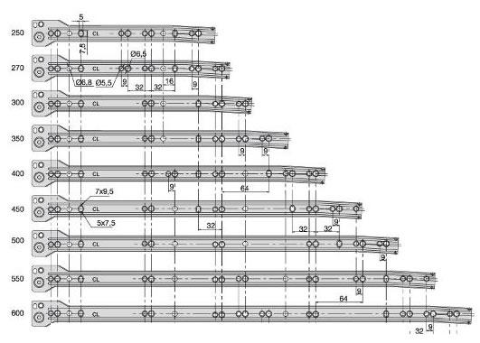 Tamaños disponibles de la guía para cajón T30C de Emuca
