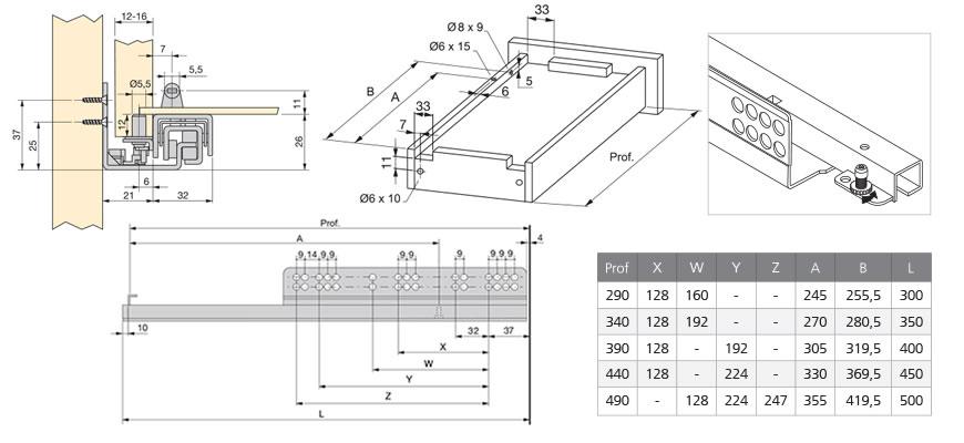 Croquis de instalación Guía de extracción total de cierre suave