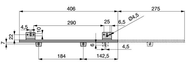Croquis de instalación Guía porta teclados