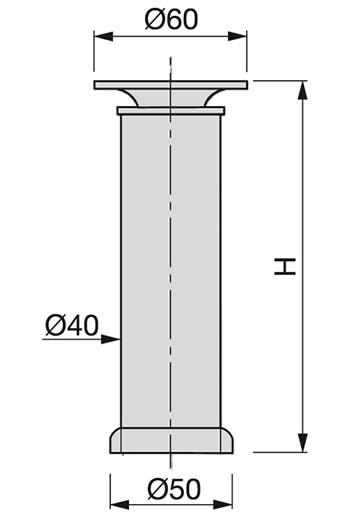 Pata redonda D40 Emuca Aluminio 14 cm