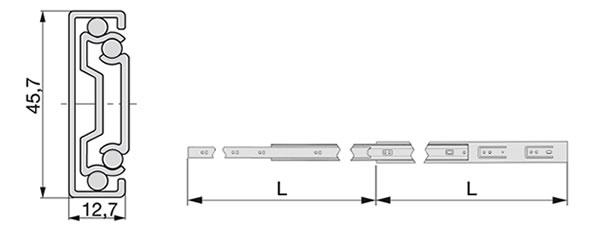 Croquis de instalación Guía telescópica de extracción total